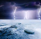 Lightning. Summer storm beginning with lightning Royalty Free Stock Photos