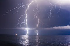 Lightning. Summer storm beginning with lightning stock image