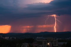 Lightning at sunset Royalty Free Stock Images