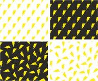 Lightning Symbol Aligned & Random Seamless Pattern Color Set Royalty Free Stock Photo