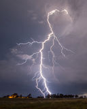 Lightning. Taken during an Oklahoma lightning storm by an old country home stock image