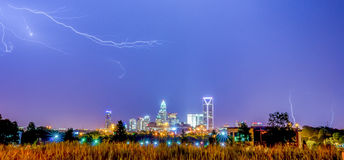Lightning thunder bolts over charlotte Stock Photo