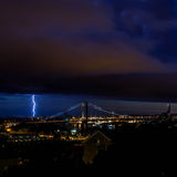 Lightning 2. Thunder lightning cloudy dark rainy autumn evening sky storm thunderstorm night rumble Gothenburg Sweden Stock Images