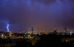 Lightning 1. Thunder lightning cloudy dark rainy autumn evening sky storm thunderstorm night rumble Gothenburg Sweden Royalty Free Stock Photography