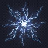 Lightning thunder. Flash electricity, spark strike, blue light blitz electric flare, natural energy flash lightning royalty free illustration