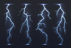 Lightning. Thunder storm electricity blue sky flash stormy realistic thunderstorm rainstorm climate. Lightnings vector. Set isolated vector illustration