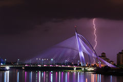 Lightning and Thunder Storm in Tropical Weather. The Photo taken in 30 seconds exposure to capture precious moment of thunder storm and lightning during raining Stock Photos