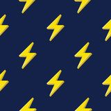Lightning or thunderbolt pattern on the dark blue background. Seamless pattern Royalty Free Stock Photos