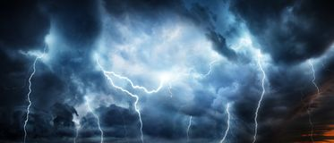 Lightning thunderstorm flash over the night sky. Concept on topi. C weather, cataclysms hurricane, Typhoon, tornado, storm stock illustration