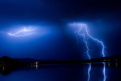 Lightning ThunderStorm Into The Night Stock Photos