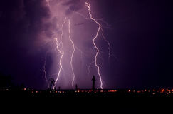 Lightning at thunderstorm Stock Image