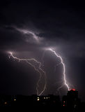 Lightning a thunderstorm, nightly cloudy sky, Stock Photos
