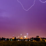 Lightning and thunderstorm over city of charlotte north carolina Stock Photography