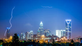 Lightning and thunderstorm over city of charlotte north carolina Royalty Free Stock Photography