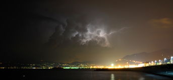 Lightning on Tigullio gulf. Lavagna. Liguria. Italy Royalty Free Stock Photos