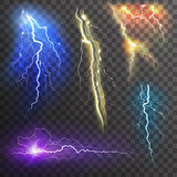 Lightning Transparent Set. In different colors realistic  vector illustration Stock Image