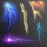 Lightning Transparent Set Stock Image