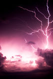Lightning Tree. Lightning bolt that resembles a tree coming up out of the clouds. Sign of danger or severe storm weather stock image