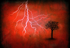 Lightning and tree on red Royalty Free Stock Images