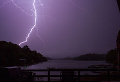 Lightning on Trout Lake. A shot of lightning over Trout Lake, Ontario Royalty Free Stock Photos