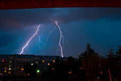 Lightning. Twins of bad weather Stock Images
