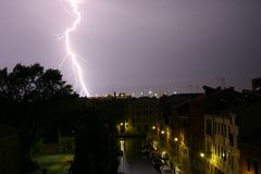 Lightning in Venice. Lightning strikes near Venice, Italy stock image