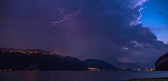 Lightning violent storm stock photo