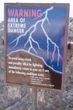 Lightning warning sign Stock Image