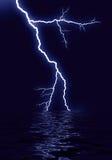 Lightning water reflection. On blue background royalty free illustration