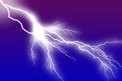 Lightning white Bolt. & Branching Little Flash Stock Photos