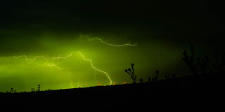Lightning at wind farms Stock Images
