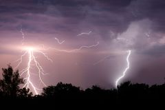 Free Lightning With Dramatic Clouds. Night Thunder Storm Royalty Free Stock Photography - 116464797
