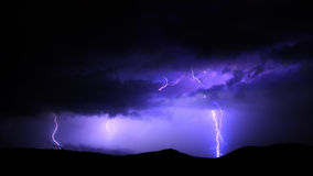 Lightnings. And dark blue sky with black clouds Stock Photography