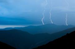 Lightnings. Three lightnings strike at Tatry - Slovak republic Stock Images