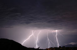 Lightnings. In a dark thunderous night Stock Photography