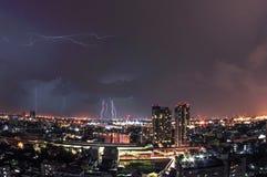 Lightnings all around stock photos