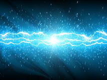 Lightnings on blue background Royalty Free Stock Photos