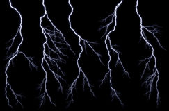 Lightnings. Bright lightning against the black sky Royalty Free Stock Image
