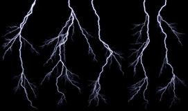 Lightnings. Bright lightning against the black sky Royalty Free Stock Photos