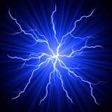 Lightnings fireball. Electrical white blue lightnings fireball over dark background Royalty Free Stock Photo