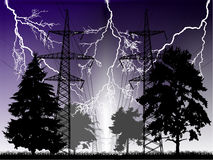 Lightnings and high-voltage line at night Royalty Free Stock Photo