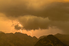 Lightnings in the mountains royalty free stock photo