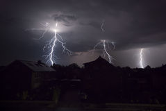 Lightnings at night. The picture shows a thunderstorm at night Stock Image