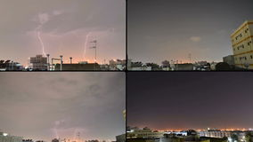 Lightnings at night with time lapse Stock Photography