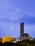 Lightnings over the city Royalty Free Stock Photography