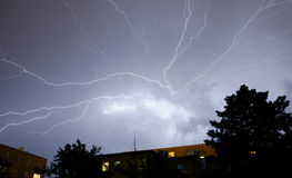 Lightnings over the city Stock Image