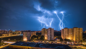 Lightnings Over Housing Estate Stock Images