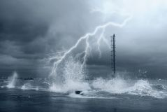 Lightnings and sea Stock Photography