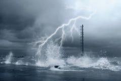 Lightnings and sea. Lightning on the big waves Stock Photography