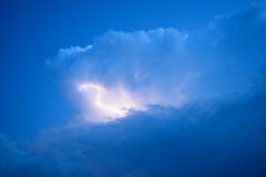 Lightnings in storm clouds. Peals of a thunder and the sparkling lightnings in clouds Royalty Free Stock Photography